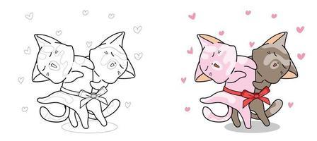Les chats mignons dansent la page de coloriage de dessin animé pour les enfants vecteur