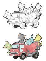Chats mignons sur la page de coloriage de dessin animé de camion pour les enfants vecteur