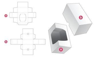 insert rectangulaire avec fenêtre et couvercle gabarit découpé vecteur