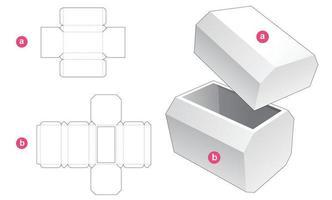 boîte octogonale et couvercle gabarit découpé vecteur