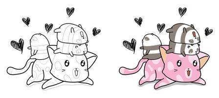 Page de coloriage de dessin animé mignon chat et petit panda pour les enfants vecteur