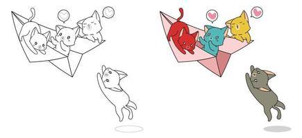 Les chats jouent avec le dessin animé d'avion en papier facilement coloriage pour les enfants vecteur