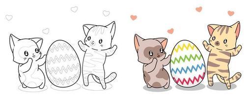 chats mignons et oeuf dans la page de coloriage de dessin animé de Pâques pour les enfants