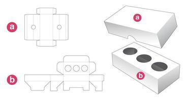 boîte d'insertion avec couvercle gabarit découpé vecteur