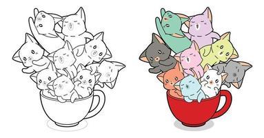 chats kawaii dans une tasse de café coloriage de dessin animé pour les enfants vecteur