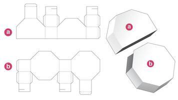 boîte octogonale avec couvercle gabarit découpé vecteur