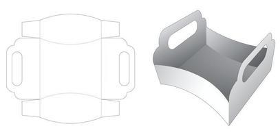 plateau latéral incurvé avec poignée gabarit découpé vecteur