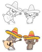 chats sur la page de coloriage de dessin animé de locomotive pour les enfants vecteur