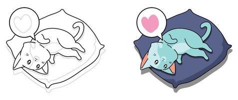 chat dans la page de coloriage de dessin animé de jour paresseux pour les enfants vecteur