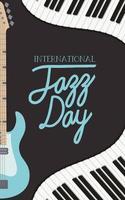 affiche de la journée du jazz avec clavier de piano et basse électrique vecteur