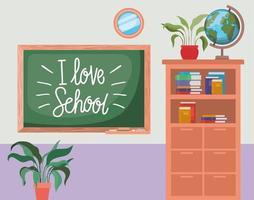 salle de classe avec scène de tableau vecteur