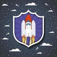 fusée sur fond de nuage vecteur