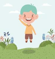 heureux petit garçon à l'extérieur vecteur