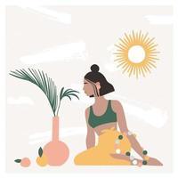 belle femme bohème assise sur le sol dans un intérieur moderne avec des vases, des feuilles de palmier, un miroir. humeur de vacances d'été, impression d'art boho chic, terre cuite. illustration vectorielle plane dans des couleurs pastel chaudes. vecteur