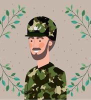 homme militaire avec cadre de guirlande de feuilles vecteur