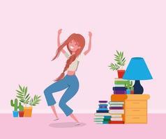 femme heureuse dans la conception de la salle d & # 39; étude vecteur