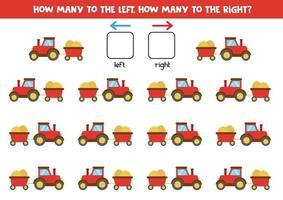 gauche ou droite avec tracteur et remorque. feuille de calcul logique pour les enfants d'âge préscolaire. vecteur
