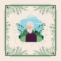 personne âgée avec cadre à base de plantes vecteur