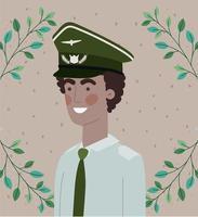 homme afro militaire avec cadre de guirlande de feuilles vecteur