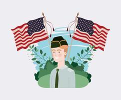 homme militaire avec drapeau usa sur le terrain vecteur