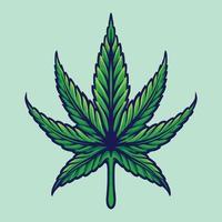illustration de feuille de cannabis botanique de mauvaises herbes vecteur