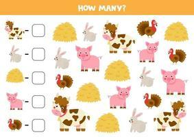 jeu de comptage avec du foin et des animaux de la ferme. feuille de calcul mathématique.