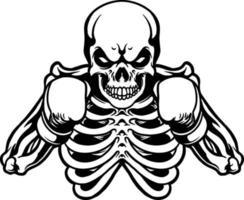 boxeur crâne avec des gants de boxe rouges silhouette mascotte vecteur