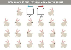 à gauche ou à droite avec un lapin mignon. feuille de calcul logique pour les enfants d'âge préscolaire. vecteur
