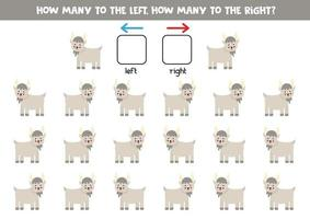 à gauche ou à droite avec une chèvre mignonne. feuille de calcul logique pour les enfants d'âge préscolaire. vecteur
