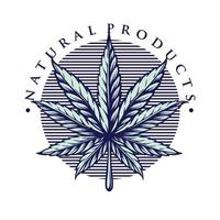 illustration de style vintage feuille marijuana vecteur
