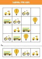 jeu de sudoku avec des moyens de transport de dessins animés.