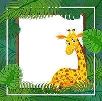 modèle de bannière de feuilles tropicales avec un personnage de dessin animé de girafe