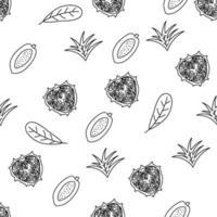 modèle sans couture de ligne de fruits tropicaux. fond botanique noir et blanc. illustration vectorielle monoline d'été. vecteur