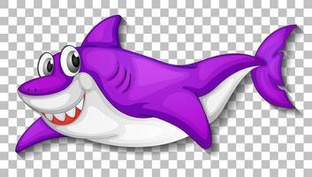 personnage de dessin animé de requin mignon souriant isolé