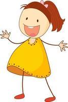 personnage de dessin animé mignon fille dans un style doodle isolé vecteur