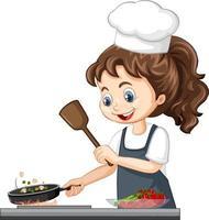 mignon, girl, caractère, porter, chapeau chef, cuisine, nourriture vecteur