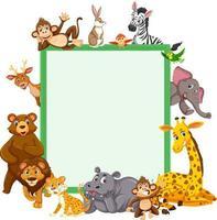 bannière vide avec de nombreux animaux sauvages différents