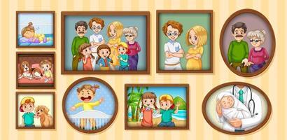 ensemble de photo de famille heureuse sur le cadre en bois