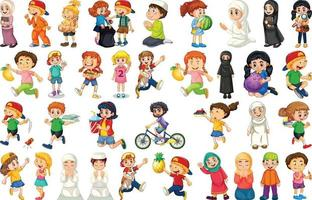 enfants faisant différentes activités de personnage de dessin animé sur fond blanc