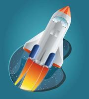 fusée avec illustration vectorielle de flamme design vecteur