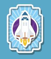 fusée sur illustration vectorielle de conception d & # 39; étiquette rayée vecteur