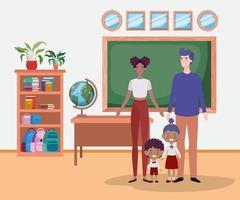 jolie famille interraciale dans la salle de classe vecteur
