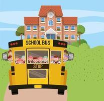 bâtiment scolaire et bus avec des enfants dans la scène de la route vecteur