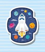 fusée sur étiquette avec illustration vectorielle de planètes design vecteur