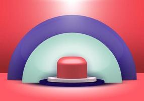 Étagère de produit de couleur bleu, blanc, rouge de formes géométriques réalistes 3D debout avec affichage de podium de piédestal de fond blanc de demi-cercle sur fond rouge avec éclairage. vecteur