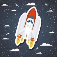 fusée sur fond avec illustration vectorielle de nuages design vecteur