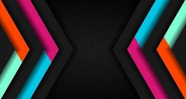 Couche de chevauchement géométrique triangle de couleur vibrante abstraite sur des particules brillantes concept de technologie fond noir. vecteur