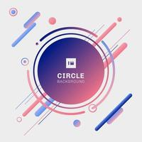 cercles géométriques abstraits bleus et roses avec des éléments de lignes arrondies diagonales sur fond blanc. vecteur