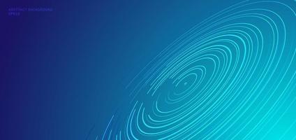 concept de technologie abstraite cercles déformés motif lignes en spirale circulaire, traînées d'étoiles sur fond bleu avec un espace pour votre texte. vecteur