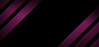bannière abstraite web design rayures lignes diagonales géométriques couleur rose avec éclairage sur fond noir vecteur